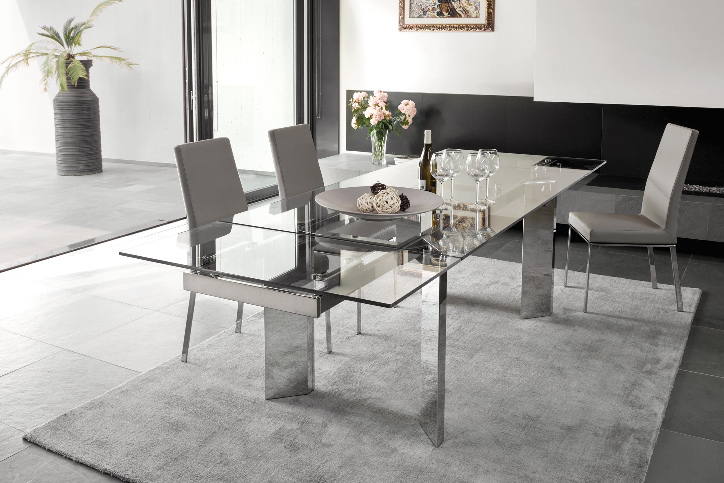 Calligaris Tower Extendable Dining Table Large Seats 8 12 Semi Automatic Coplanar Extension System Cs4057 R 180 Calligaris Nyc New York City Soho Chelsea Upper East Side