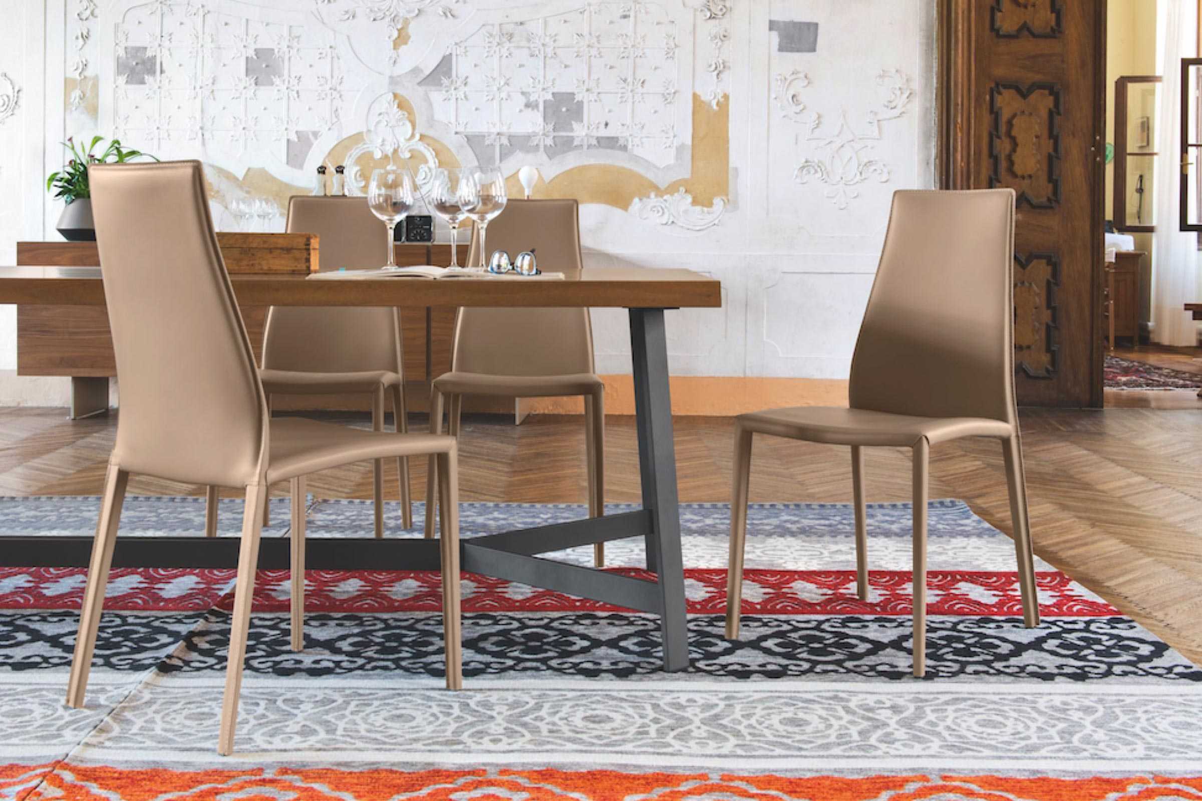 Calligaris Aida Plus Fully Leather Upholstered Chair Vero Cuoio Cs1484 Calligaris Nyc New York City Soho Chelsea Upper East Side