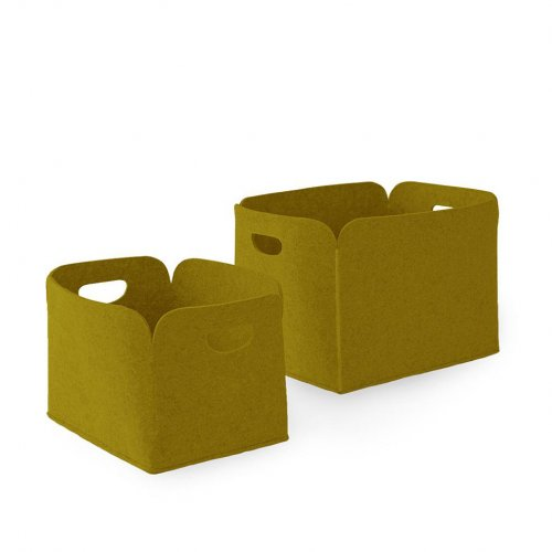 DARYL Storage box polyester felt MUSTARD YELLOW