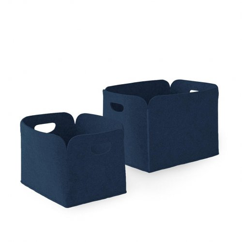DARYL Storage box polyester felt DARK BLUE