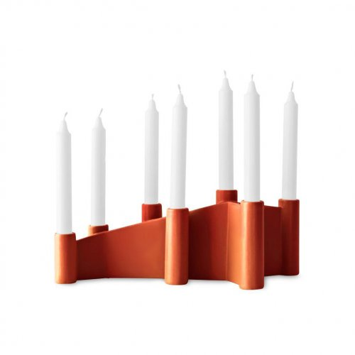 CATHEDRAL Candle holder ceramic GLOSSY RUST BROWN