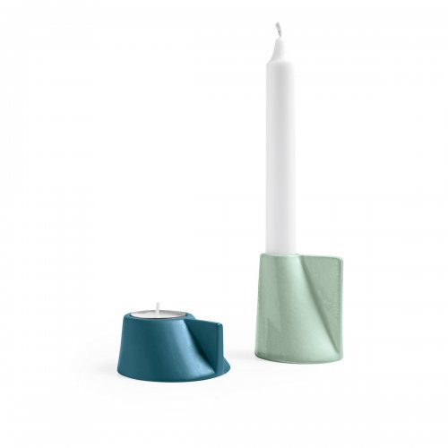 LINO Candle holder ceramic GLOSSY THYME GREEN/PETROL BLUE
