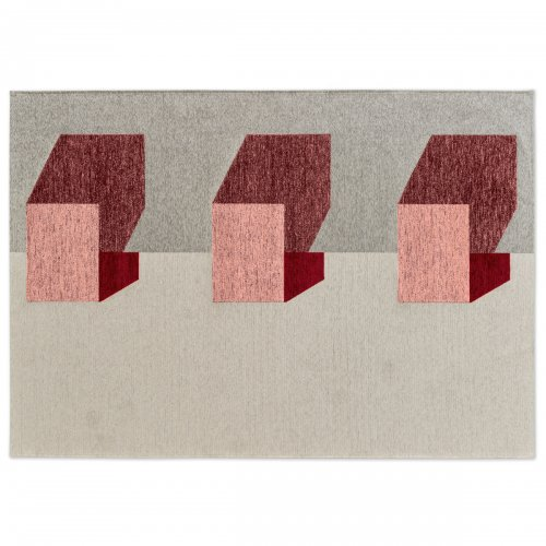 JUT Rug chenille/cotton GREY/VARIOUS SHADES OF PINK
