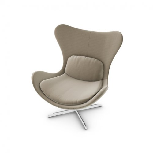 CS3373-C 1310 LAZY Frame P66 met. SATIN FINISHED NICKEL Seat SQ4 Malmo TAUPE