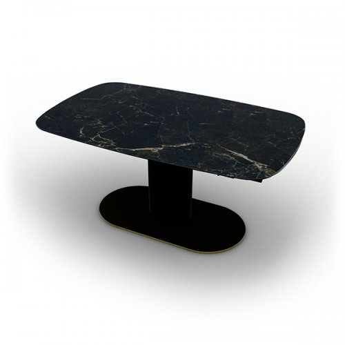 CS4124-S 165 CAMEO Legs P33L met. PAINTED BRASS Frame P15 met. MATT BLACK Top P18C ceramic (g) CALACATTA BLACK MARBLE