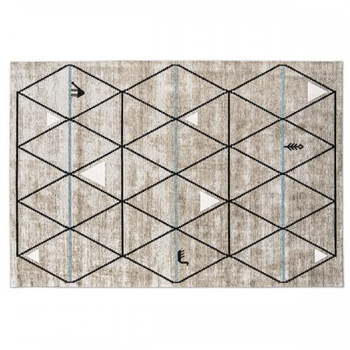CS7181-B GAVA Rug M1X chenille/cotton LIGHT GREY-BLACK/ LIGHT BLUE DECOR