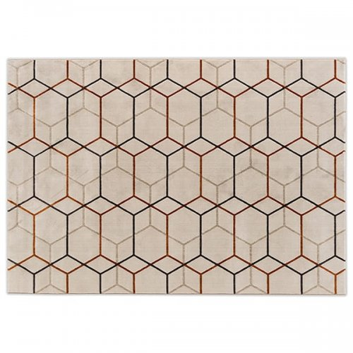 CS7207-B OFFSET Rug M5H Polypropylene/polyester BEIGE/BRICK RED/GREY/BROWN