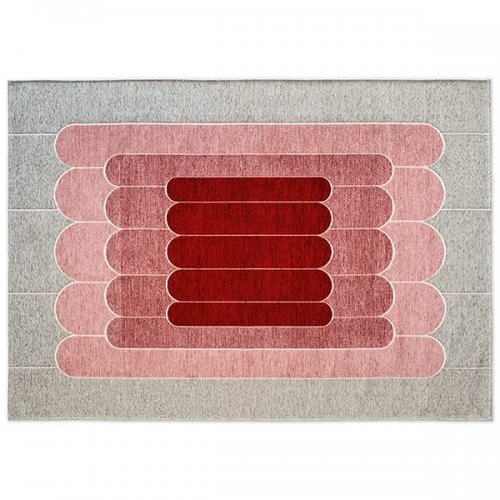 CS7212-B LINEE Rug M5M chenille/cotton GREY/VARIOUS SHADES OF PINK
