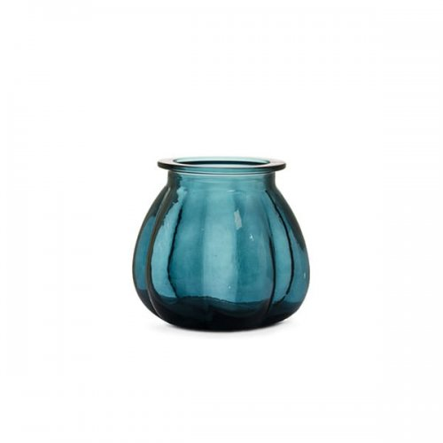CS7243-A PUMPKIN Vase M0P glass TRANSPARENT BLUE