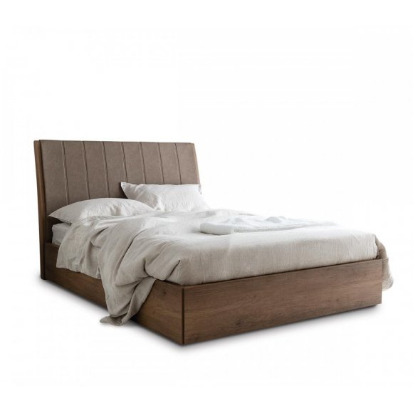 SALTON: Partially-Upholstered-Headboard Storage Bed